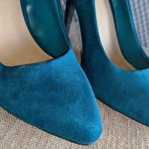 JustFab Shoes - Teal Faux Suede Pumps
